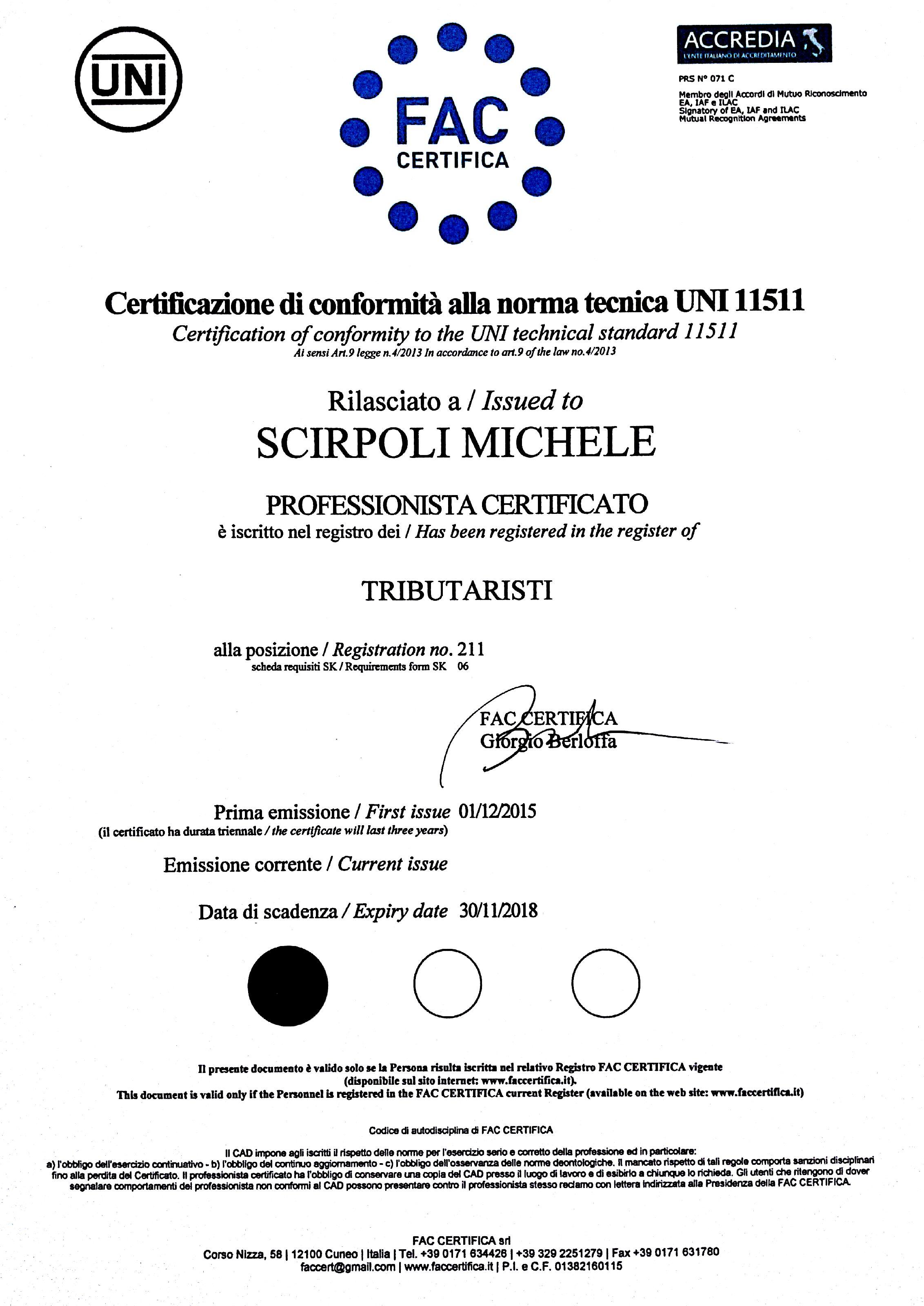 Certificato FAC Scirpoli Michele